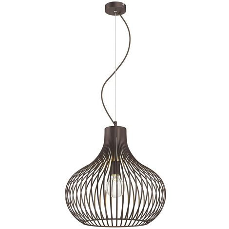 Cage pendant light Frances, brown, 1-bulb Ø 48 cm