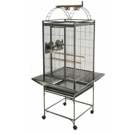 Cage perroquet evita 1 gris martelé 73x73x152cm S