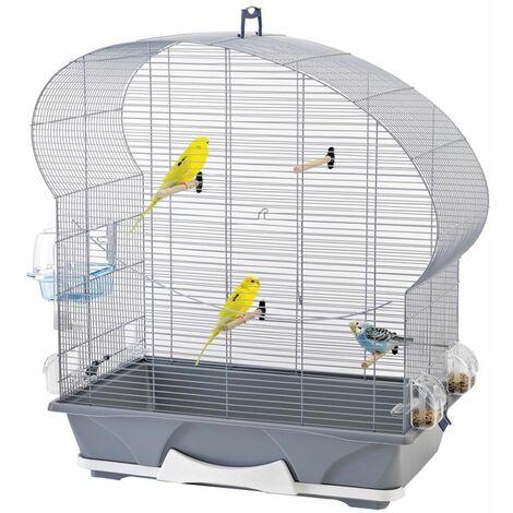 cage petit oiseau Ellipse 50 argent 70x36x75cm
