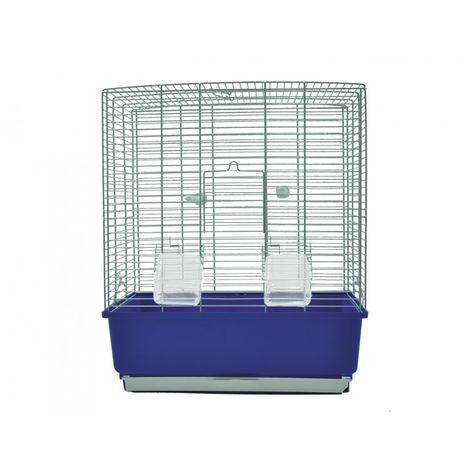 Cage petit oiseau Katia chromé/bleu 41x31x50cm