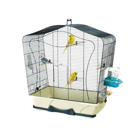 Cage petit oiseau Lily 50 bleu-ivoire 70x38x73cm