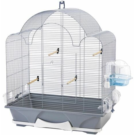 Cage petit oiseau Melodie 50 argent 64x38x73,5cm