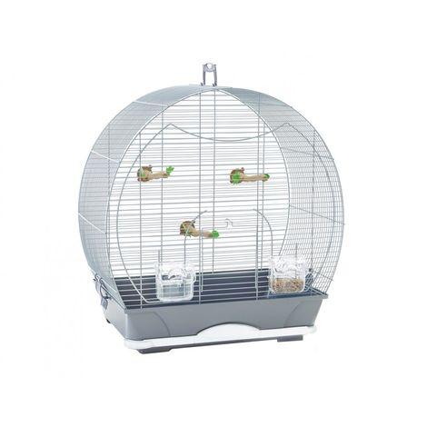 Cage petit oiseau S Evelyne 40 argent 52x32,5x55cm