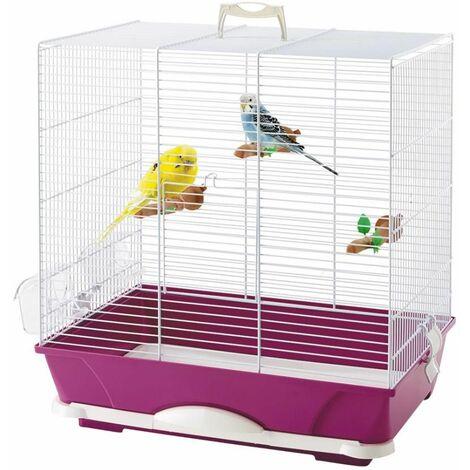 Cage petit oiseauprimo 40 blanc/fuchsia 46x32x48cm