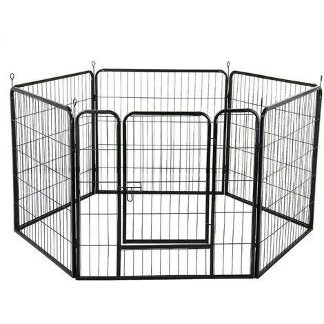 """main image of """"Cage Pliant pour Chien en Métal avec Porte Et Plateau Parc pour Petit animal 6 comprimés - Noir"""""""