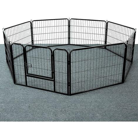 """main image of """"Cage Pliant pour Chien en Métal avec Porte Et Plateau Parc pour Petit animal 8 comprimés - Noir"""""""