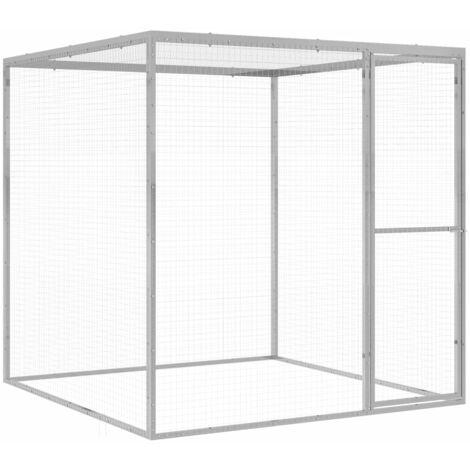 Cage pour chat 1,5x1,5x1,5 m Acier galvanisé