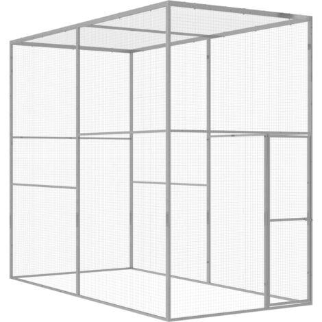 Cage pour chat 3x1,5x2,5 m Acier galvanisé