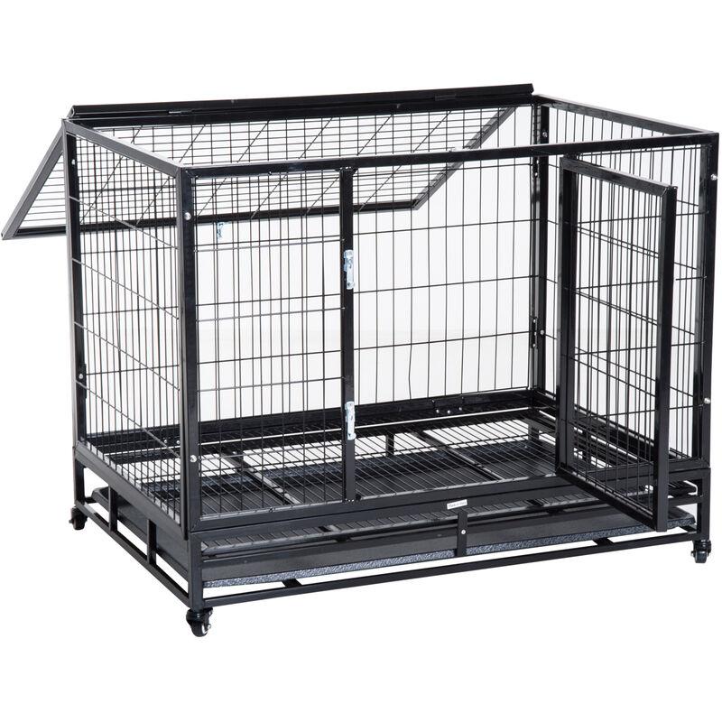 Cage pour chien animaux cage de transport sur roulettes 2 portes verrouillables plateau amovible max. 50 Kg 109L x 76l x 87H cm noir