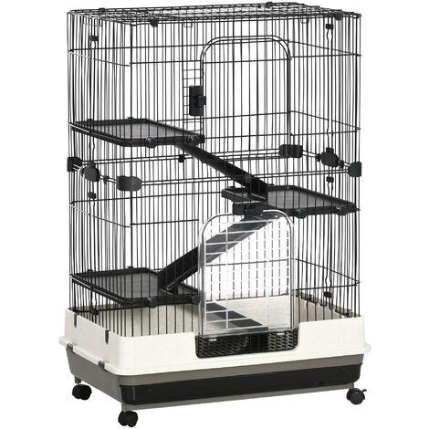 Cage pour cochons d'Inde chinchilla rongeur sur roulettes - 3 étages, rampes, 2 portes + trappe, plateau excrément amovible - métal PP noir gris