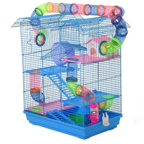 Cage pour Hamster Souris Petit Animaux Rongeur avec Tunnel Mangeoire Roue Jouet 47 x 30 x 59 cm cm Bleu - Bleu