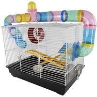 Cage pour hamsters souris petits rongeurs 2 étages 2 échelles tunnels maisonnette roue 62L x 29l x 52H cm acier blanc PVC noir