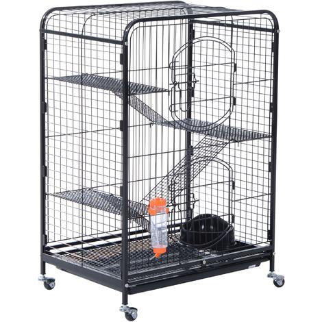 Cage pour hamsters souris petits rongeurs multi-niveaux 3 plateformes + rampes + accessoires 64L x 44l x 93H cm 2 portes noir
