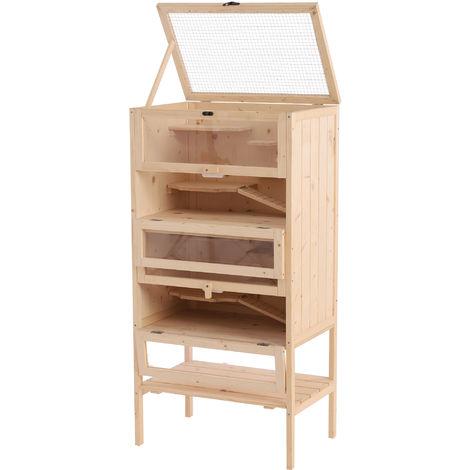 """main image of """"Cage pour hamsters souris petits rongeurs multi-niveaux 5 étages 10 plateformes bois de pin 60 x 40 x 120 cm"""""""