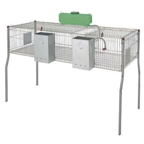Cage pour lapins GAMMA 3 - plancher metal-2 compartiments