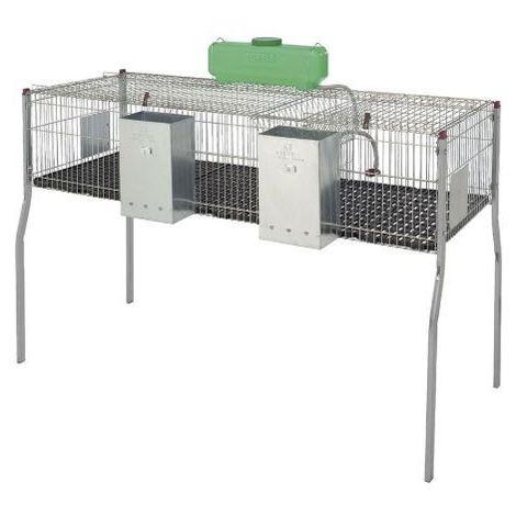 Cage pour lapins GAMMA 3 - plancher plastique- 2 compartiments