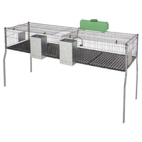 Cage pour lapins GAMMA 4 - 2 compartiments