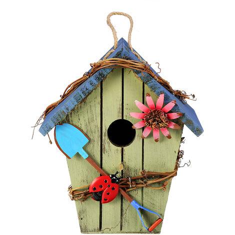 Cage pour oiseau en bois nichoir en bois suspendu
