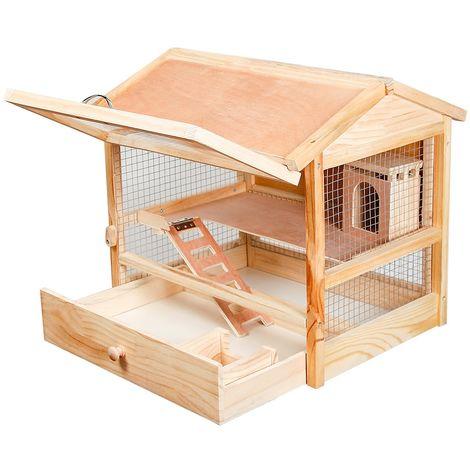 Cage pour rongeurs hamsters petits animaux Cage pour souris Cage en bois avant pliante XXL
