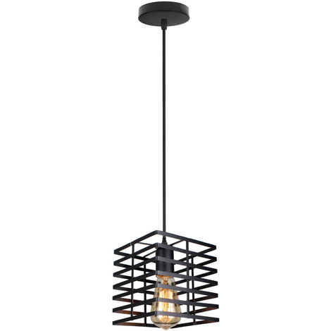 Cage Shape Ceiling Light Vintage Creative Pendant Light Adjustable Single Light Industrial Droplight for Living Room Dining Room Bar Balcony Black E27
