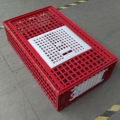 Cage Transport Poules Et Volailles 77x57x27cm 2 Portes Rouge Et Blanche