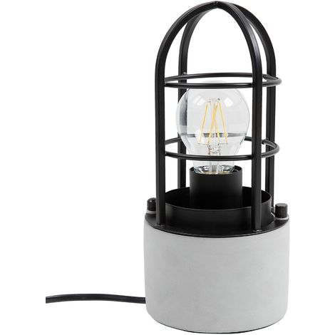 Caged Table Lamp Concrete Black ALLYN