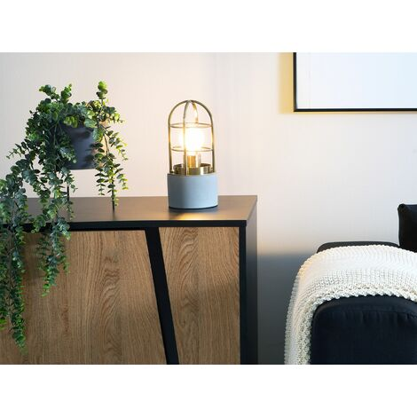 Caged Table Lamp Concrete Brass ALLYN