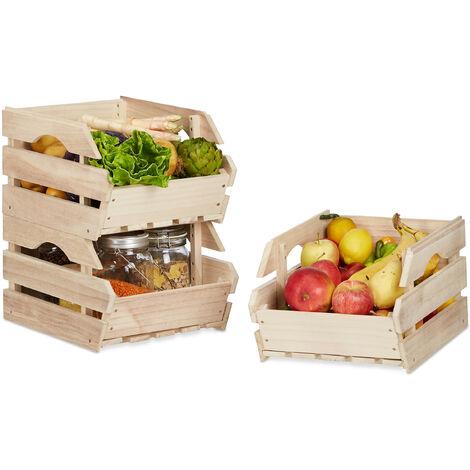 Cagette en bois empilable boîte rangement nature lot de 3 caisses HxlxP: 20 x 27,5 x 38 cm, nature