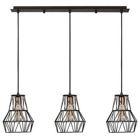 Cagex Hanging Lamp - Chandelier - Ceiling Lamp - Black, Copper made of Metal, Electrostatic Paint, 90 x 20 x 115 cm, 3 x E27, Max 100W