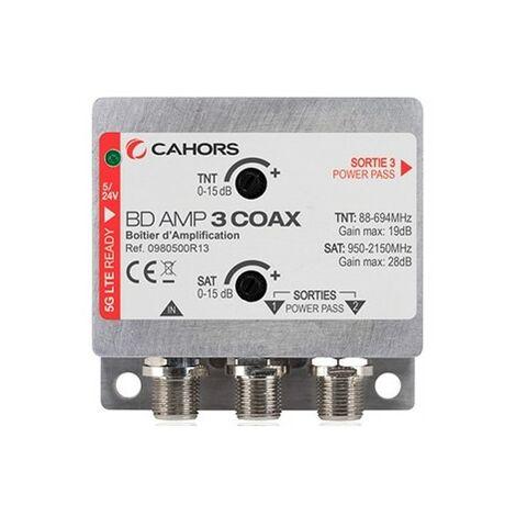CAHORS BD-AMP-3COAX Amplificateur TV/SAT 1 Entrée Coax et 2 Sorties Coax