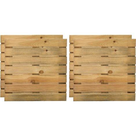 Caillebotis 50 cm en bois traité autoclave (Lot de 4) - Naturel