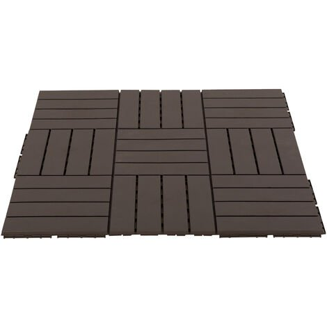 Caillebotis - dalles terrasse - lot de 9 - emboîtables, installation très simple - petits carreaux composite plastique imitation bois chocolat - Marron