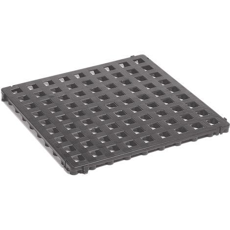 Caillebotis en polyéthylène - 500 x 500 mm, standard, lot de 20 - gris basalte