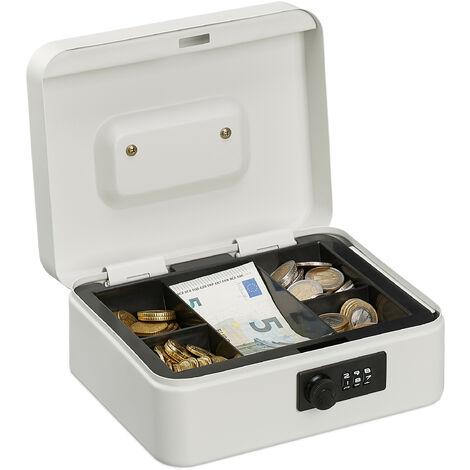 Caisse à monnaie, avec combinaison à 3 chiffres, rangement d'argent en fer, H x L x P 8,5 x 20 x 17 cm, blanc
