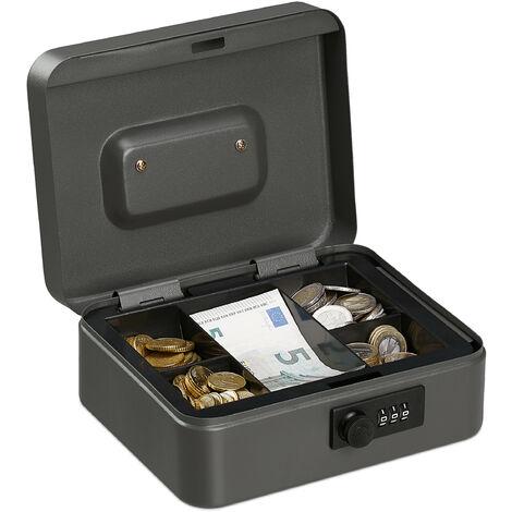 Caisse à monnaie, avec combinaison à 3 chiffres, rangement d'argent en fer, H x L x P 8,5 x 20 x 17 cm, gris