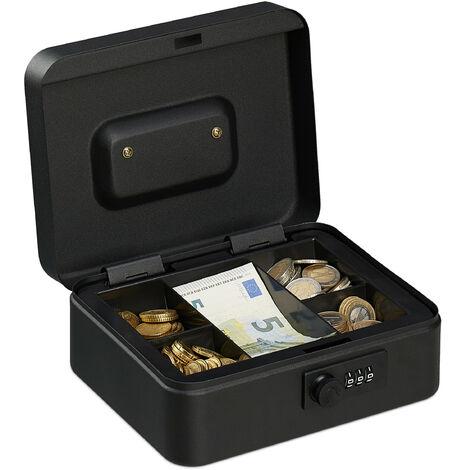 Caisse à monnaie, avec combinaison à 3 chiffres, rangement d'argent en fer, H x L x P 8,5 x 20 x 17 cm, noir