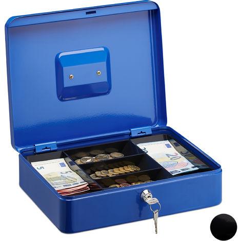 Caisse à monnaie et billets verrouillable, monnayeur, Boîte à monnaie 2 clés, HxlxP 8,5 x 30 x 25 cm bleue