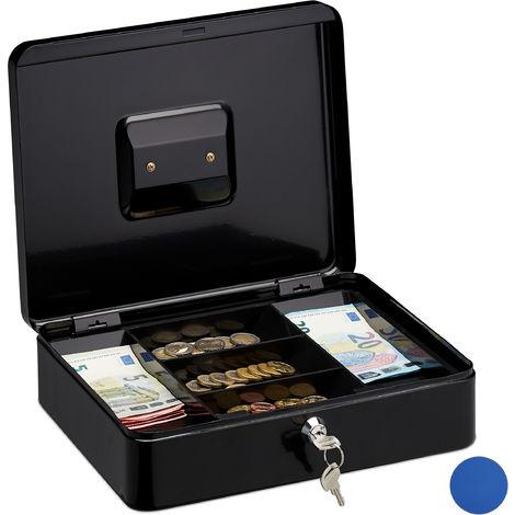 Caisse à monnaie et billets verrouillable, monnayeur, Boîte à monnaie 2 clés, HxlxP 8,5 x 30 x 25 cm noire