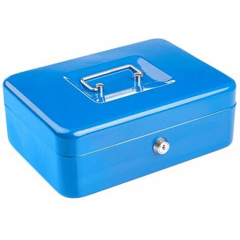 Caisse à Monnaie/ Objets de Valeur Compacte Verrouillable en Acier Solide -10Po - Bleu