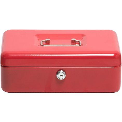 Caisse à monnaie | Rouge | HxLxP 90 x 250 x 180 mm | Newpo