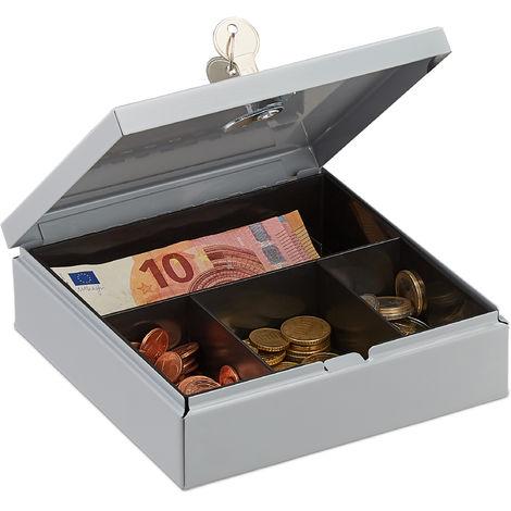 caisse à monnaie, verrouillable, avec monnayeur, boîte métallique avec 2 clés, billets, L x P : 17x17 cm, gris