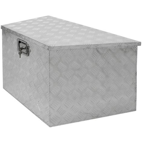 Caisse à outils boite transport remorque valise aluminium chequer 82x50x47 cm