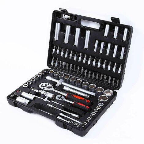 Caisse à outils pour clés à douille tournevis à cliquet et écrous hexagonaux 199 pièces MX