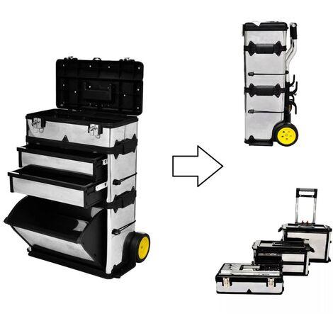 Caisse / Boite à outils mobile sur roulettes 3 en 1 + casiers amovibles individuels