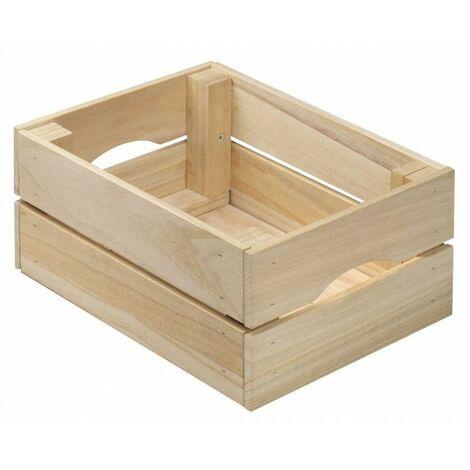 Caisse de rangement en bois à lattes 31 x 15 x H23 cm