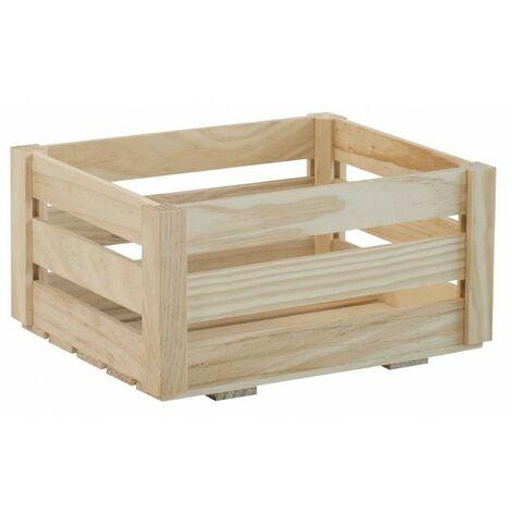 Caisse de rangement en bois à lattes 46 x 25 x H31 cm