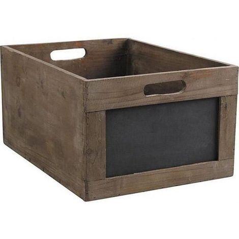 Caisse de rangement en bois avec ardoise 35 x 23 x 17,5 cm