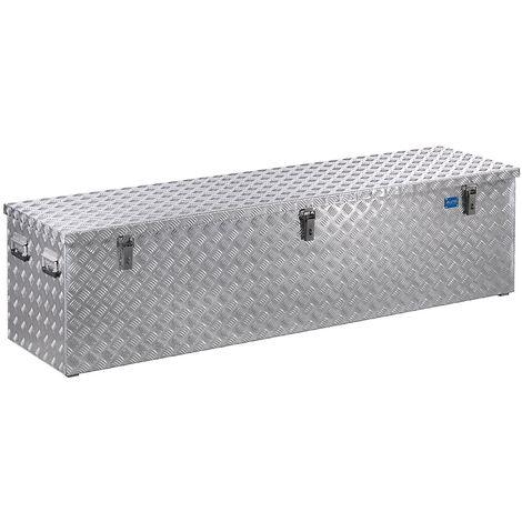 Caisse de transport en tôle striée d'aluminium - capacité 470 l - L x l x h 1896 x 525 x 520 mm - argent alu