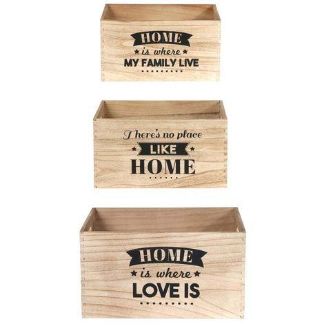 Caisse en bois empilables Home (Lot de 3)