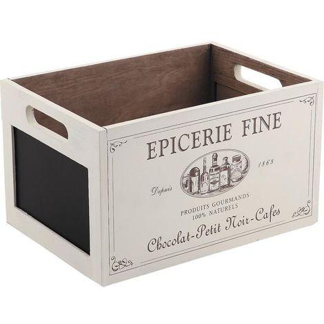 Caisse en bois épicerie fine avec ardoise